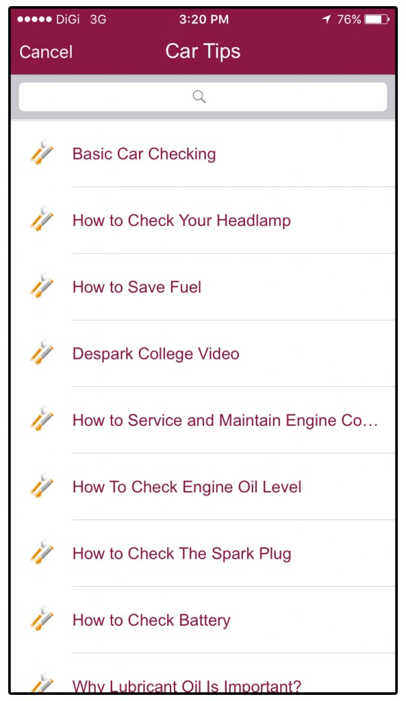 05 Car Tips Video List